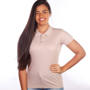 camisa-polo-para-empresa-clássica-feminina-caqui-frente