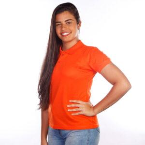 camisa-polo-para-empresa-clássica-feminina-laranja-lado