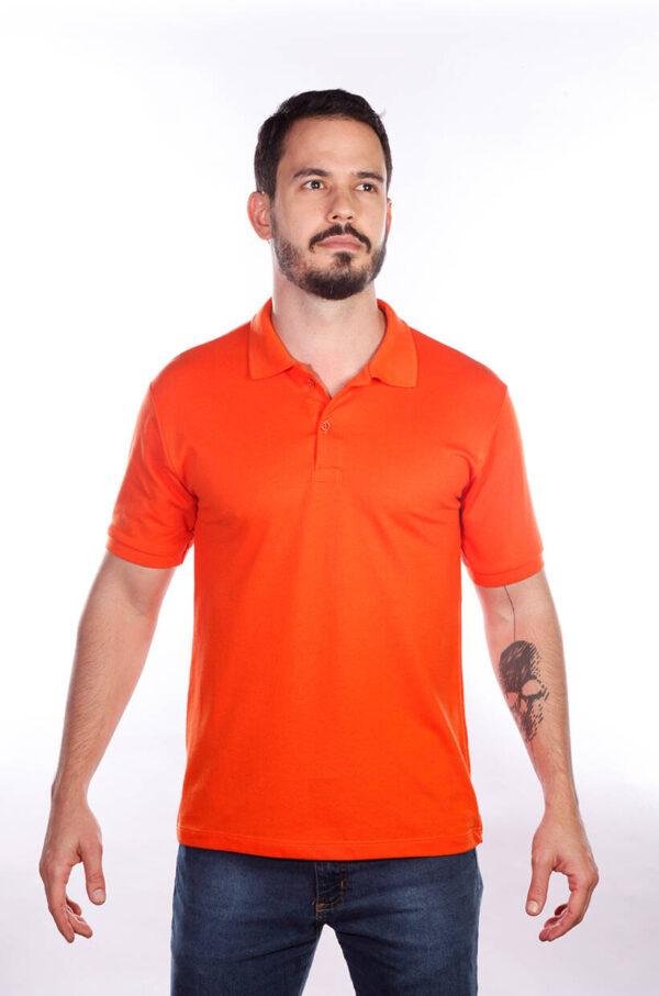 camisa-polo-para-empresa-classica-masculina-laranja-detalhe