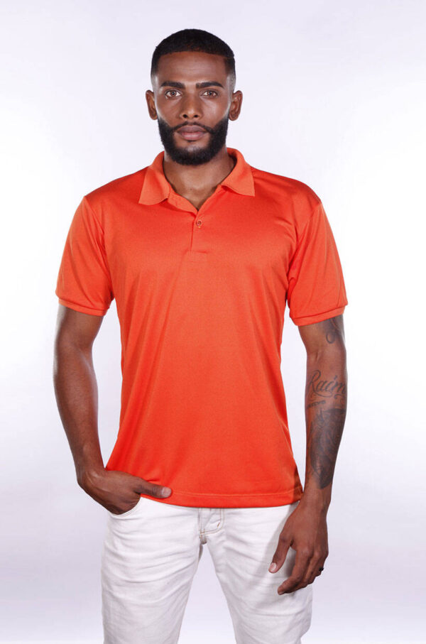 camisa-polo-para-empresa-poliester-masculina-laranja-frente