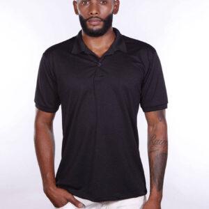 camisa-polo-para-empresa-poliester-masculina-preta-frente