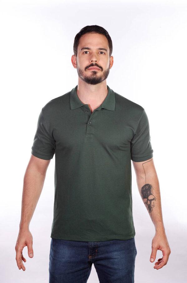 camisa-polo-para-empresa-masculina-verde-musgo-frente